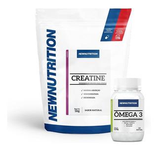 Kit 1 Creatina Monohidratada 1kg+1 Ômega 3 120 Softgels New