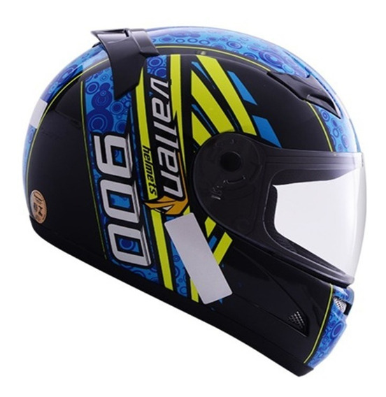 Capacete Moto Vallen 900 Preto/azul 60
