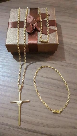 Cordão Tijolinho 70cm 3mm + Pulseira + Ping Banhado A Ouro