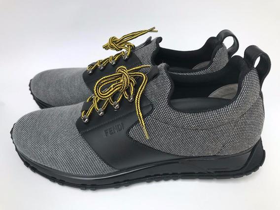 Zapato Fendi Sneaker Casual Gris/negro Hombre Talla 27mx