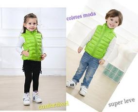 Moda Colete Jaqueta Infantil Super Light