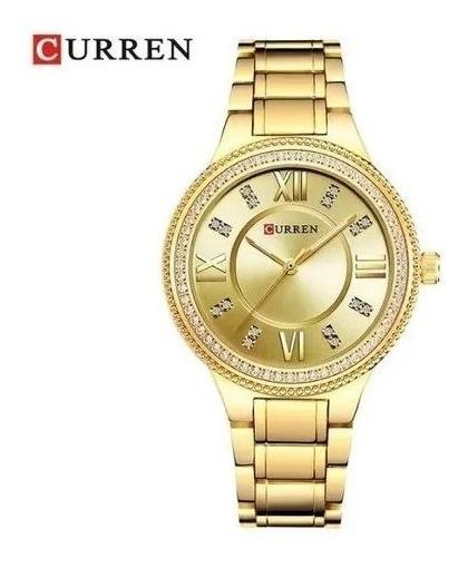 Relógio Feminino De Pulso Currem 9004 Com Pedrarias Lindo