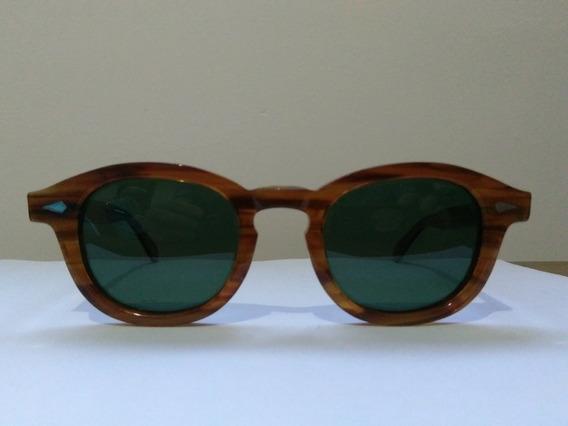 Oculos De Sol Moscot Cor Linhoso(blonde) Com Lentes Verdes