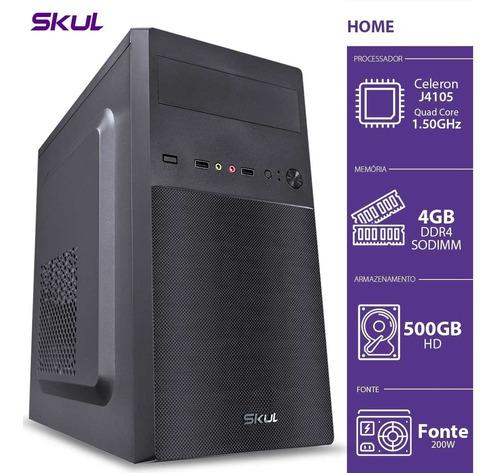 Pc Skul Home H100 Celeron J4105 1.50ghz 4gb Ddr4 Hd 500gb