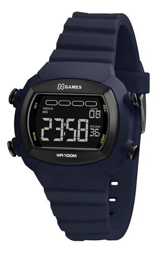 Relógio Masculino Azul Digital Silicone X-games Prova D'água