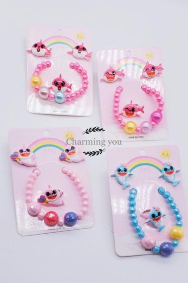 Kit Pulseira/brinco/anel Infantil Colorido
