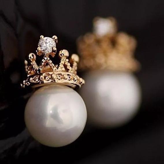 Aretes De Corona Con Perlas Para Dama De Corea Lujo Moda