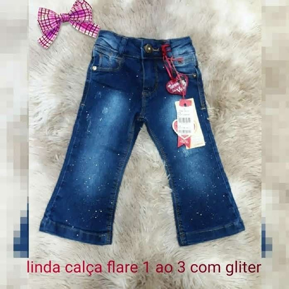 Calça Jeans Flare Bebê Infantil Glitter