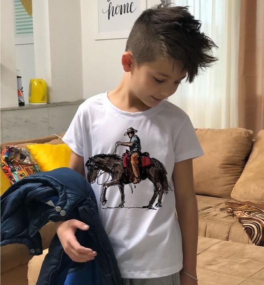 Camiseta Masculina Infantil Cowboy Desenho Imagem Country