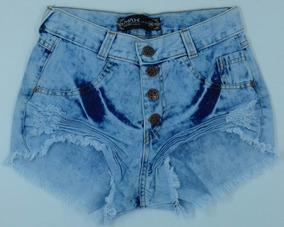Short Jeans Feminino Hot Pant Cintura Alta Anita Anitta Cós