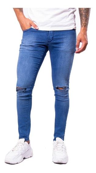 Jean Chupin Azul Roturas Hombre Elastizado Maxima Calidad
