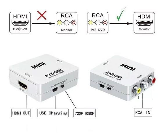 Conversor Av X Hdmi Adaptador Audio E Video Para Hdmi Para Ligar Aparelhos Antigos Em Uma Tv Com Entrada Hdmi