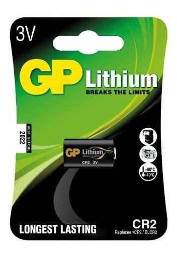 01 Bateria Pilha Cr2 3v Foto Gp Cartela Unitária