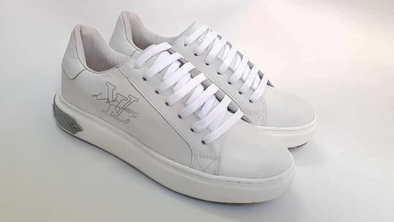Tênis Sneaker Louis Vuitton Branco Em Couro