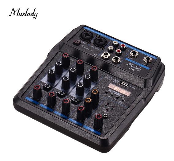Muslady U4 Portátil 4 Canais Mixer De Áudio Bt Console De
