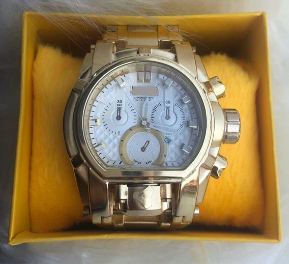 Relógio De Pulso Masculino Dourado Luxo + Caixa