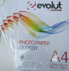 Super Kit 500 Fls Papel Fotográfico A4 180g + 4lts De Tinta