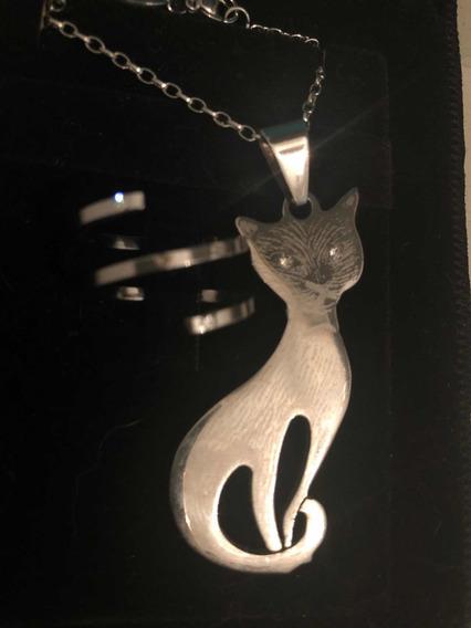 Conjunto Colar E Anel - Aço Inox - Pingente De Gato