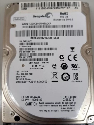 Hd 500gb Seagate Notebook Sata - 5400 Rpm St9500325as