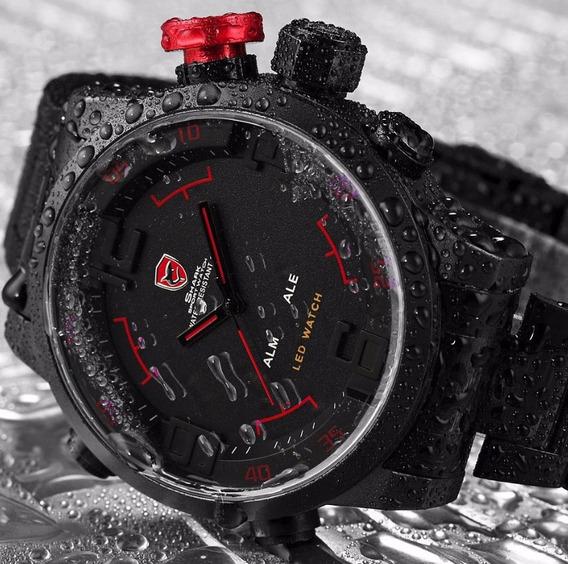 Relógio Masculino Preto E Vermelho Social Militar Digital !!