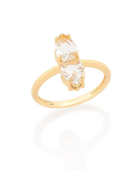 Anel Skinny Ring 2 Cristais F. Ouro Rommanel 512352