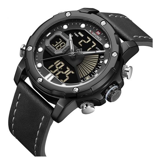 Relógio Masculino Digital Esportivo Naviforce Pulseira Couro