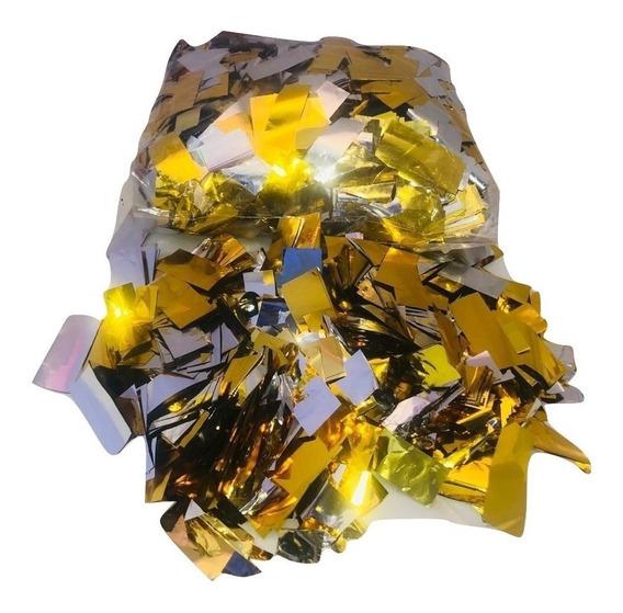 Confeti Rectangular Papel Metalico Color Dorado Maquina Co2