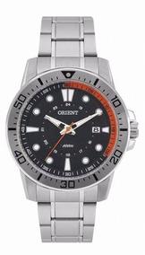 Relógio Orient Masculino Prata Com Calendário, Visor Preto