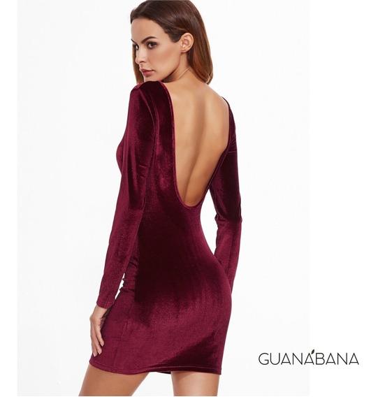 Vestido De Noche Corto Mujer Terciopelo - Guanabana