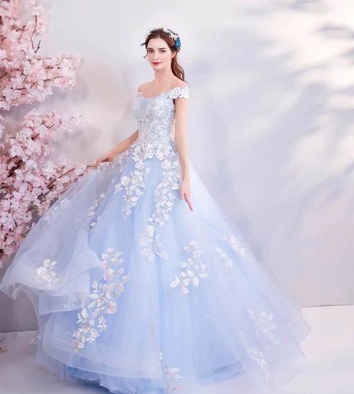 Vestido Quinceañera Xv Años Flores 3d, Incluye Aroflex