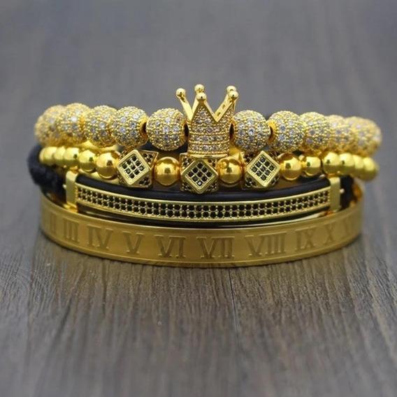 Set De Pulseras Fourth King Para Hombre. Color: Gold