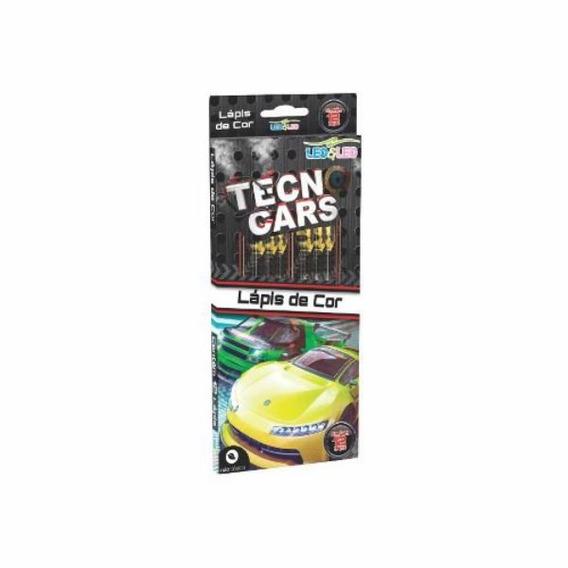 Lápis De Cor 12 Cores Tecno Cars - Kit C/06 Caixas