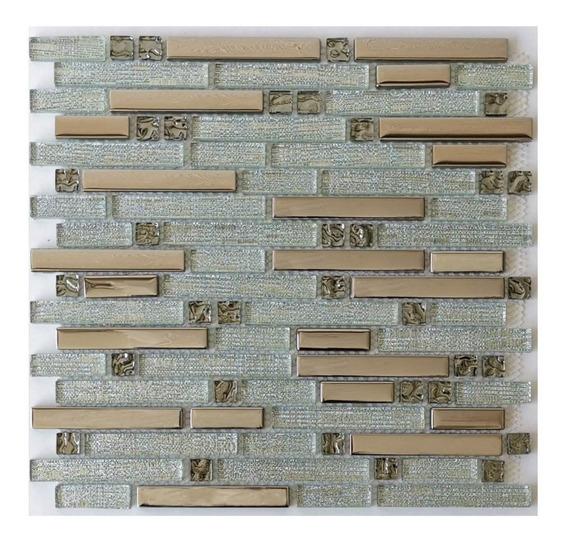 1 X Malla Mosaico Decorativa Cenefa Vidrio Latitude Plateado