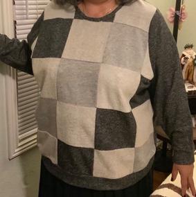 Elegante Sweater Gris Con Crema, Talla 3x
