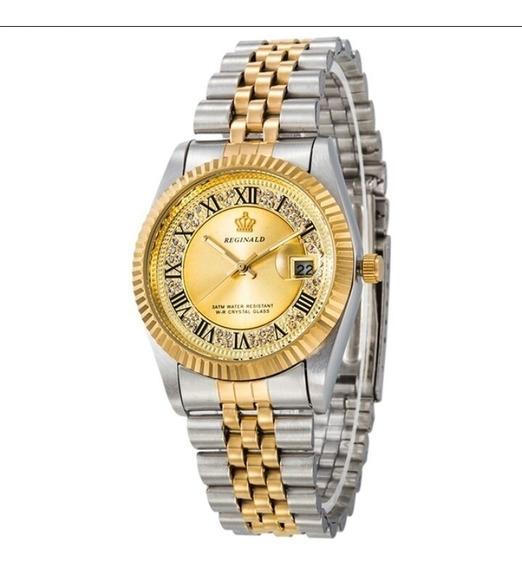 Relógio Dourado Original Paris Genebra Reginald Quartz Luxo