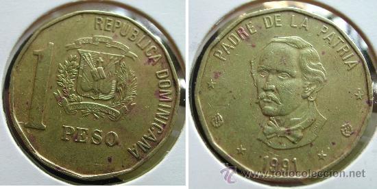 Republica Dominicana Moneda De 1 Peso Año 1991/1992 C/u