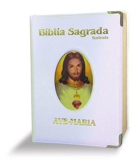 Bíblia Sagrada Ilustrada Luxo Grande Branca
