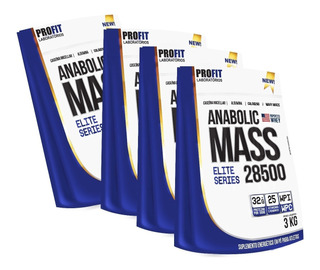 4x Hipercalórico Anabolic Mass 28500 3kg Total 12kg - Profit