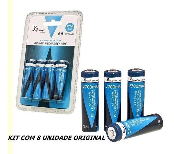 Pilhas Recarregáveis Knup Aa 2700mah Original Kit Com 8 Unid