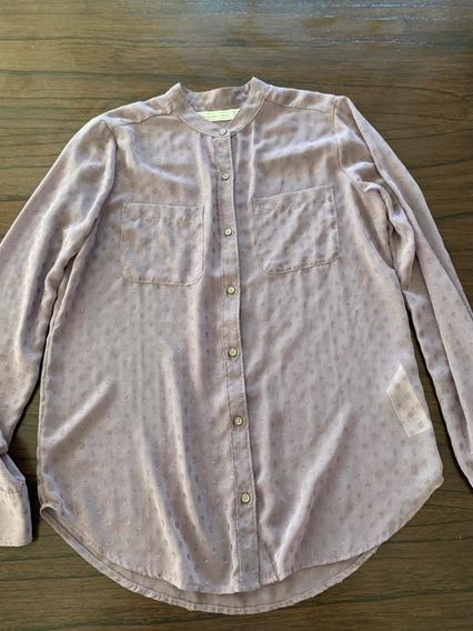Camisa Visón Abercrombie & Fitch Traslúcida T. S