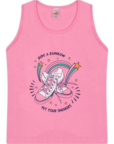 Roupa Infantil Juvenil Menina Camiseta Regata De Cotton