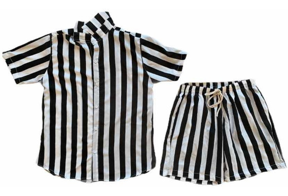 Conjunto Listrado Equóreo Black & White Preto E Branco