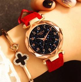 Relógios De Pulso Feminino Céu Estrelado Barato Vermelho