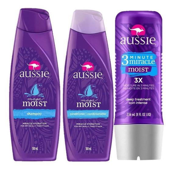 Kit Aussie Moist: Shampoo + Condicionador 180ml + Tratamento
