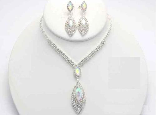 Collar Con Arete Dije De Cristal Cafu244-34 A20