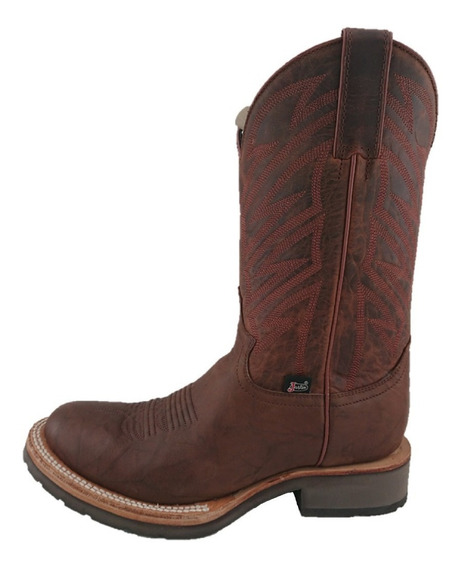 Bota Tipo Rodeo Oval Hombre Marca Justin Color Waxy Brandy