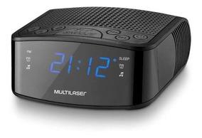 Radio Relógio Digital Multilaser Fm 3w Rms Sp288 Preto