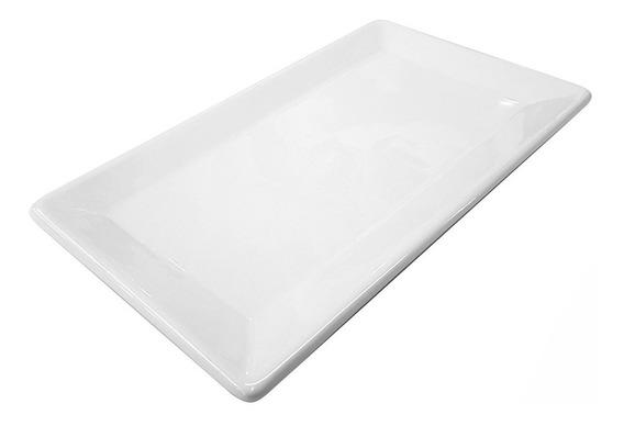 Fuente Plana Chica Bandeja Ceramica Blanca 25x15 Rectangular