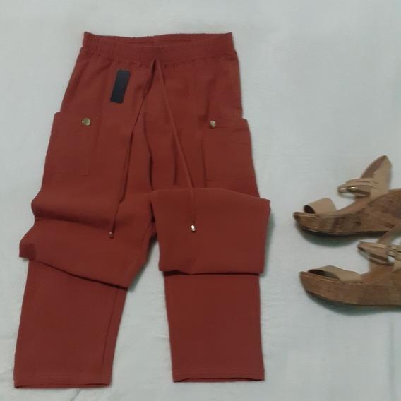 Pantalon Para Dama Simula Lino Talla Ch/med Color Naranja