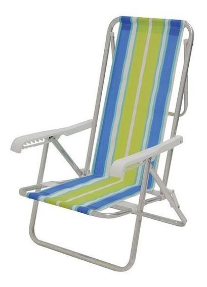 Cadeira Praia / Piscina Alumínio Reclinável Mor - 8 Posições